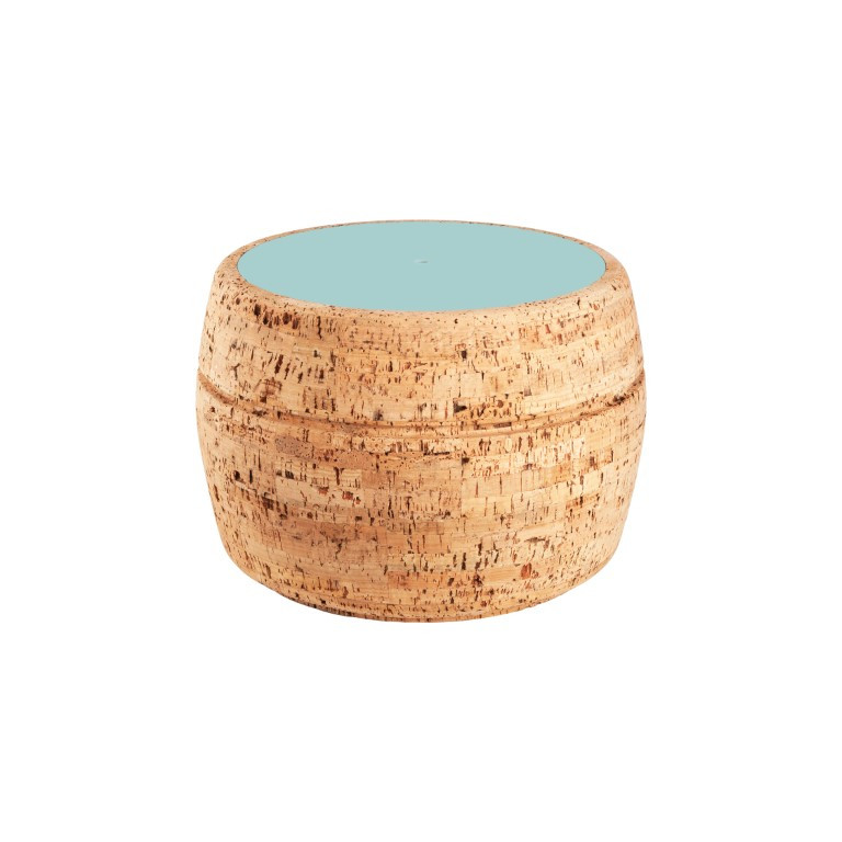 Side Table #2   Natural Cork + Blue Table Top