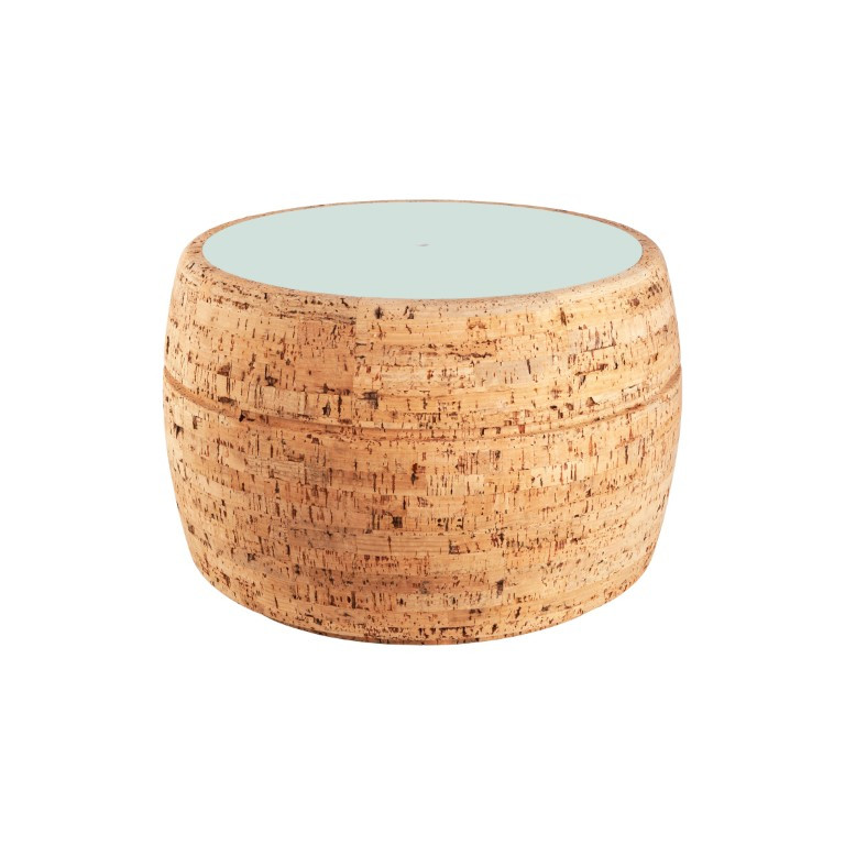Side Table #3   Natural Cork + Light Blue Table Top