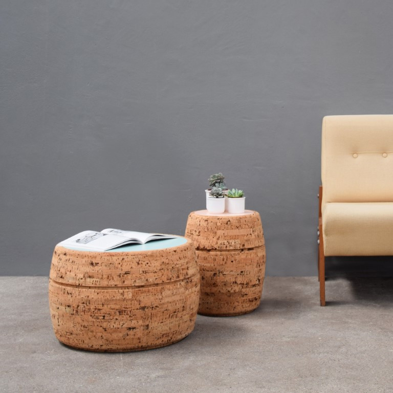 Side Table #4 | Natural Cork + White Table Top