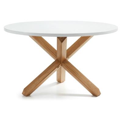 Tisch Nori   Ø 120 cm Weiß lackiertes MDF und weiß lackierte Massivholzbeine