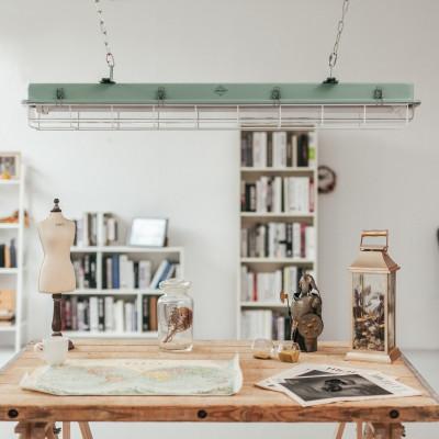 4 FT-Käfiglampe Industrielles Streifenlicht | Türkis