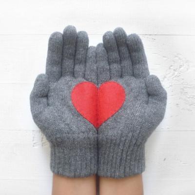 Handschuhe Herz   Stahlgrau & Rot