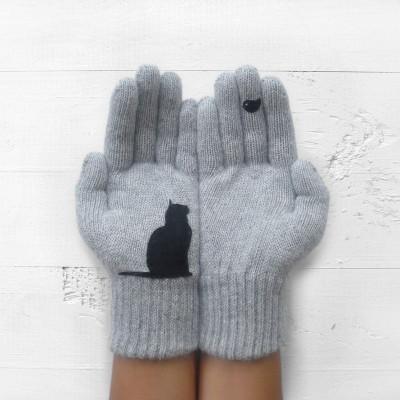 Handschuhe Katze & Vogel   Hellgrau