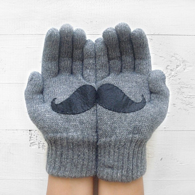 Handschuhe Schnurrbart | Stahlgrau