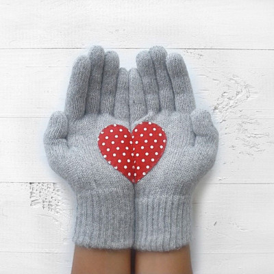 Handschuhe   Hellgrau mit Polka-Punkt-Herz