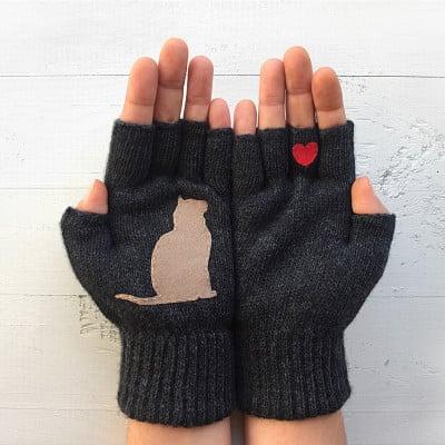 Handschuhe ohne Fingerspitzen   Katze & Herz   Dunkelgrau