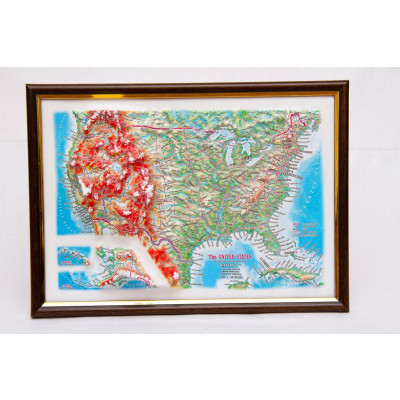 Decorative 3D Map with Panorama Effect Gift Edition   USA