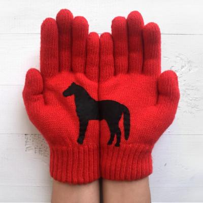Handschuhe Pferd   Rot