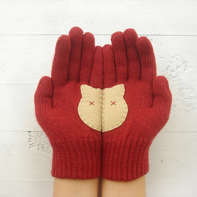 Handschuhe Katzenkopf   Rot