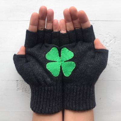 Handschuhe ohne Fingerspitzen   Kleeblatt   Dunkelgrau