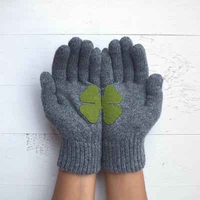 Handschuhe   Kleeblatt   Grau