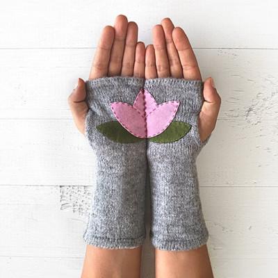 Handschuhe ohne Fingerspitzen Lotus   Grau