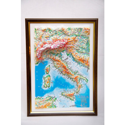 Decorative 3D Map with Panorama Effect Gift Edition   Italy