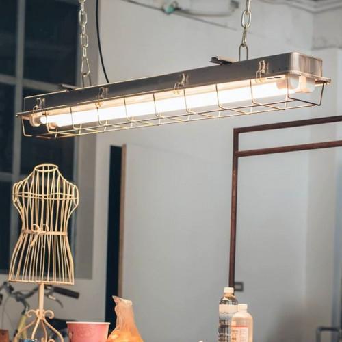 4 FT-Käfiglampe Industrielles Streifenlicht | Galvanisiert