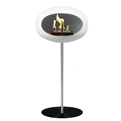 Bio Fireplace Ground Steel White 80 cm | Steel Pole & Black Plate