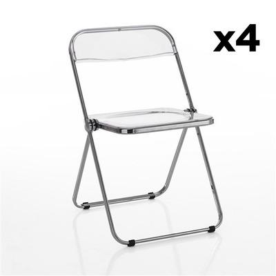 4er Set Stühle Sekka I Transparent-Grau