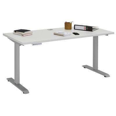 Adjustable Computer Desk | Platinum Grey Metal and Grey Platinum