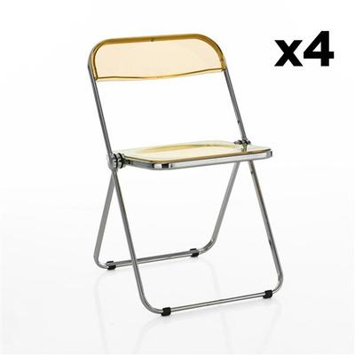 4er Set Stühle Sekka I Transparent-Orange