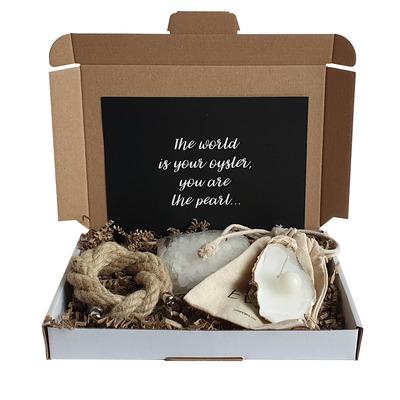 Austernkerze + Duftperle + Seil + Nachfüllperlen Geschenkkarton | Natürlich
