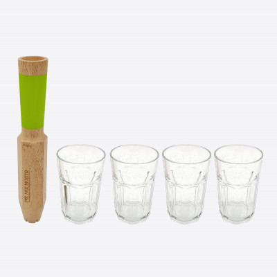 Cocktail-Stößel Mojito 4 in 1 mit 4 Gläsern Morry