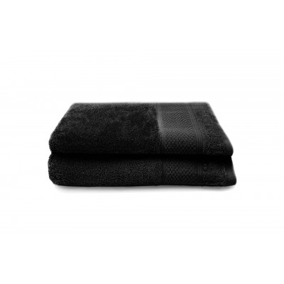 Set of 2 Bath Towels Gigi 50x100 cm | Black