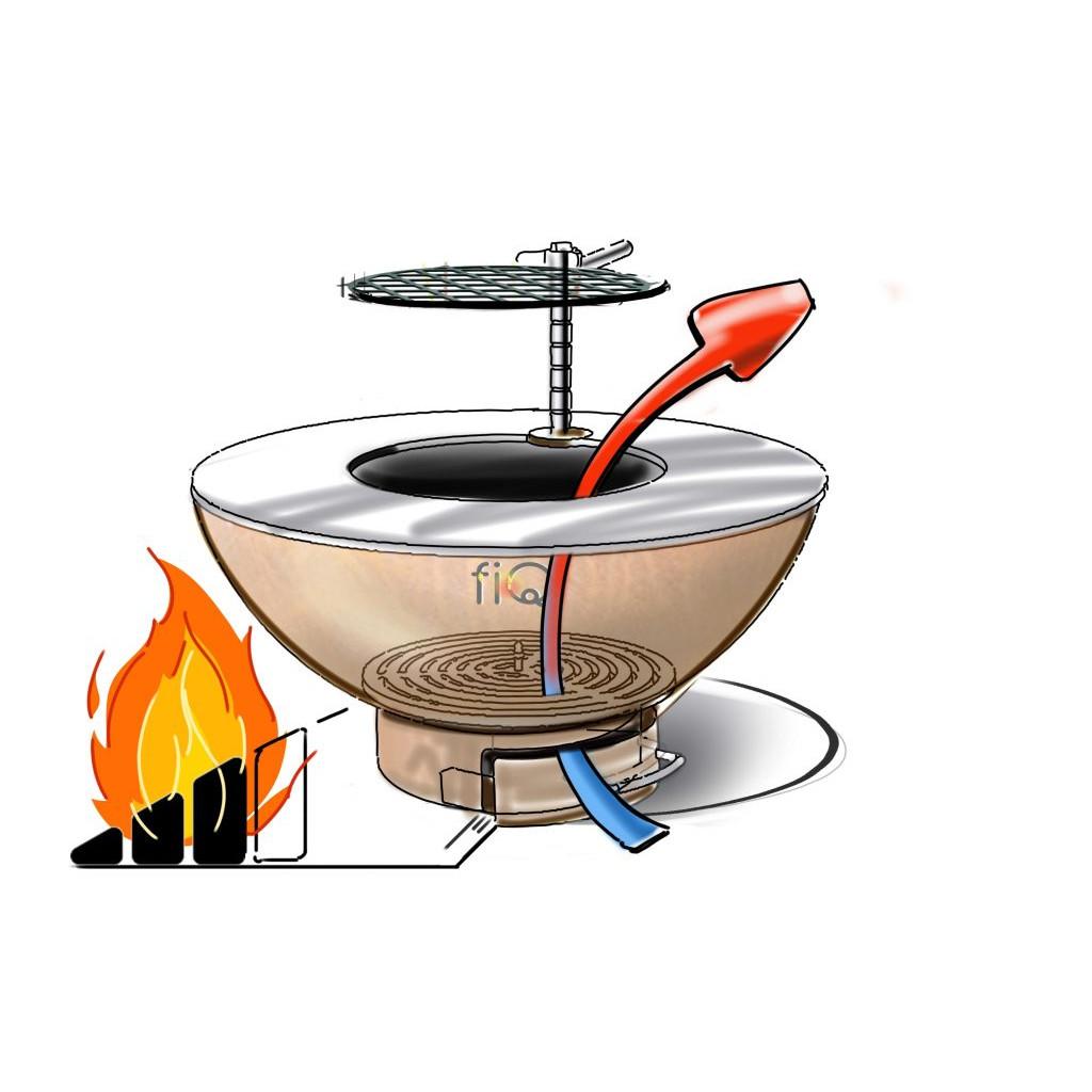 Barbecue auf Holzkohle FiQ M einschließlich Säule M   Schwarz