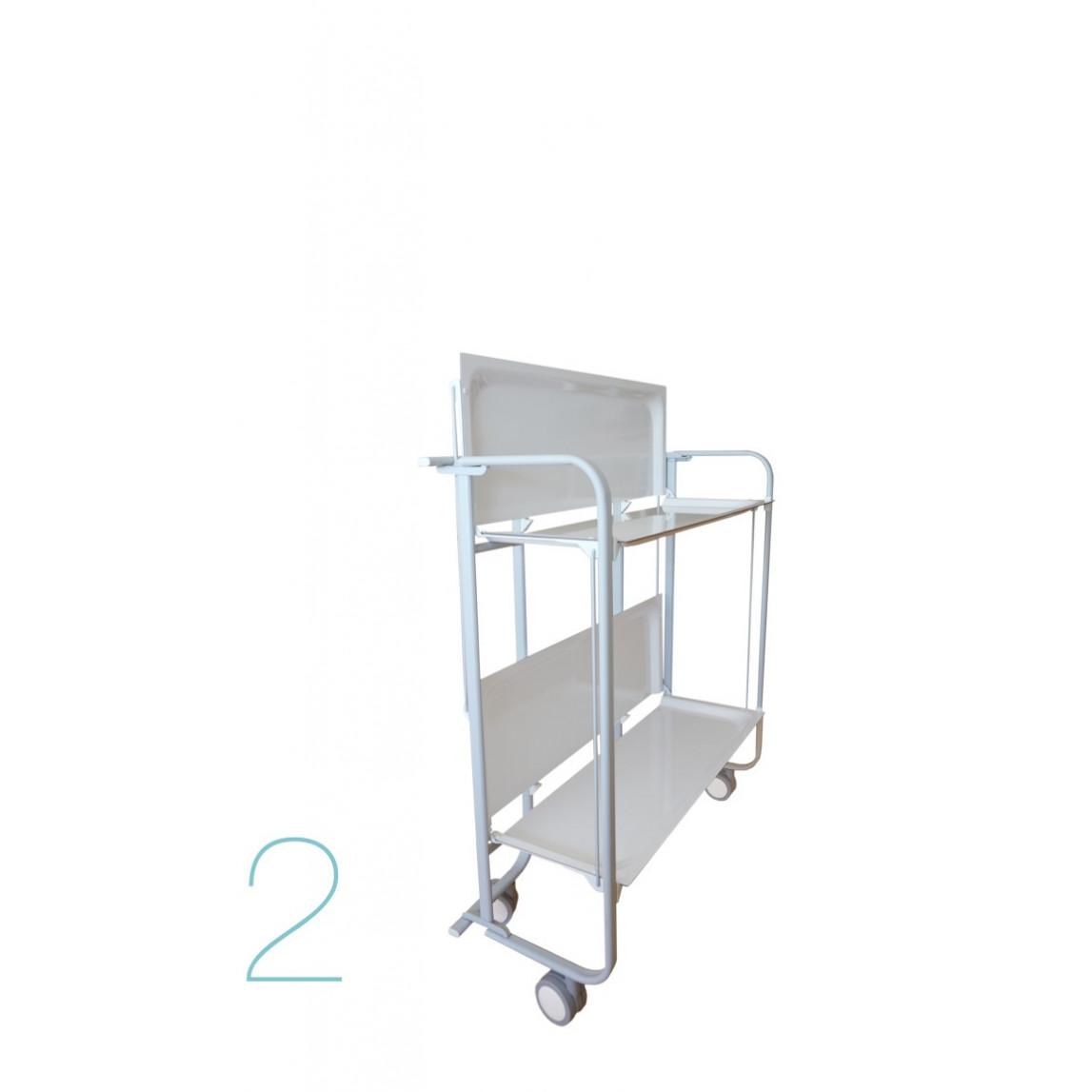 Zusammenklappbarer 2-stöckiger Servierwagen | Grau-Weiß