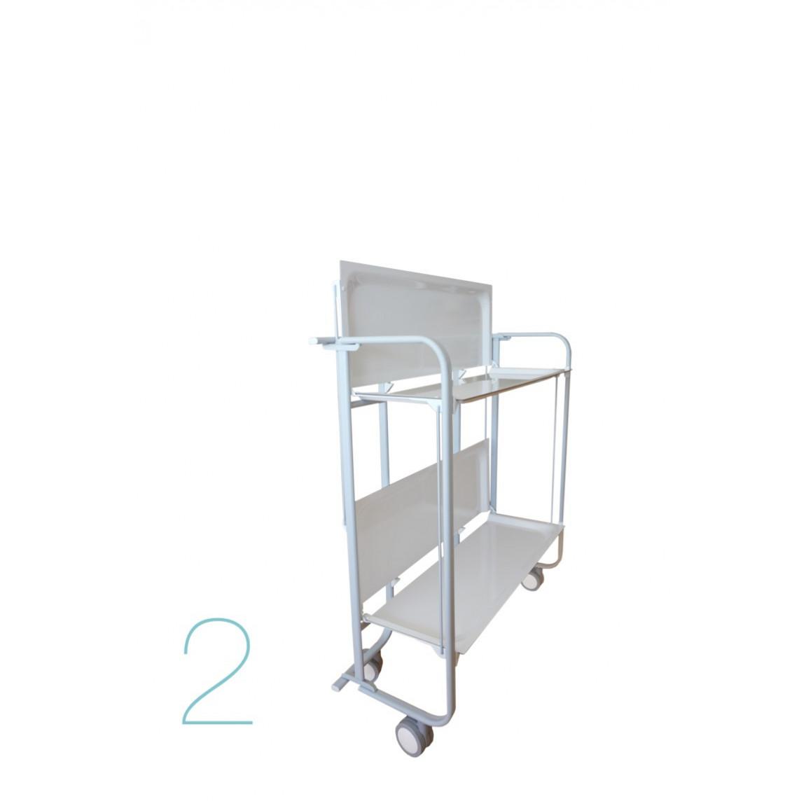 Zusammenklappbarer 2-stöckiger Servierwagen | Grün-Weiß