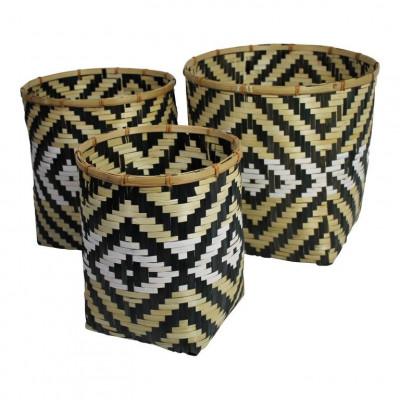 Bamboo Baskets Zig Zag   Set of 3
