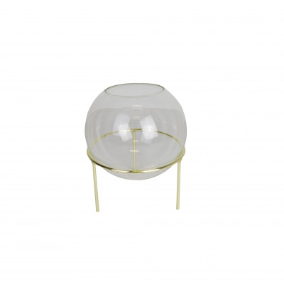 Sphärische Vase mit goldenen Details | Small