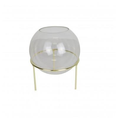 Sphärische Vase mit goldenen Details | Medium
