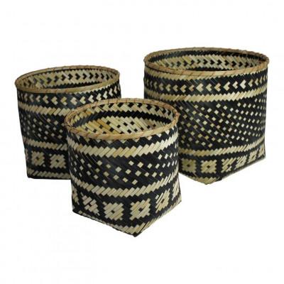 Bamboo Baskets Black/Natural   Set of 3
