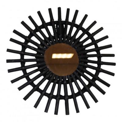Mirror Round Rattan   Black