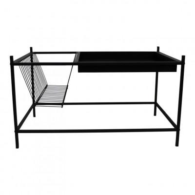 Beistelltisch + Zeitschriftenständer Metall   Schwarz