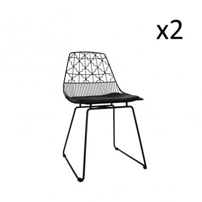 Stuhl mit Berbermuster Schwarz   2er-Satz
