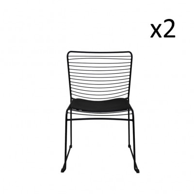 Drahtstuhl gerade schwarz   2er-Satz