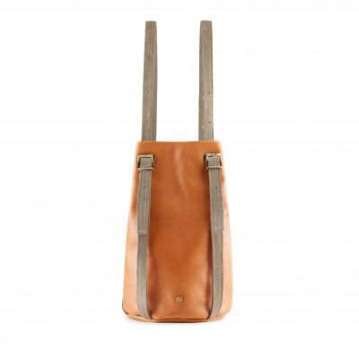Drawstring Backpack Amber   Camel & Grey