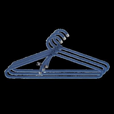3er-Set Kleiderbügel Seil   Blau