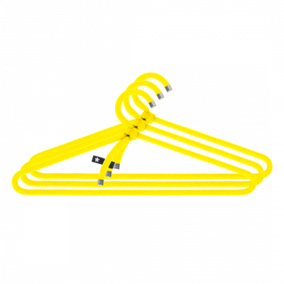 3er-Set Kleiderbügel Seil   Gelb