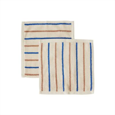 Waschlappen Raita 2er-Pack | Karamell + Optik blau