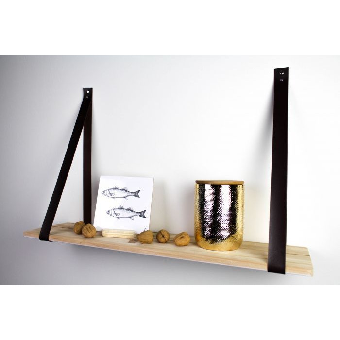 Wooden Wall Shelf with Leather Belts | Brown