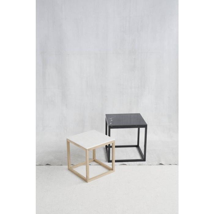 Black Cube Table | White
