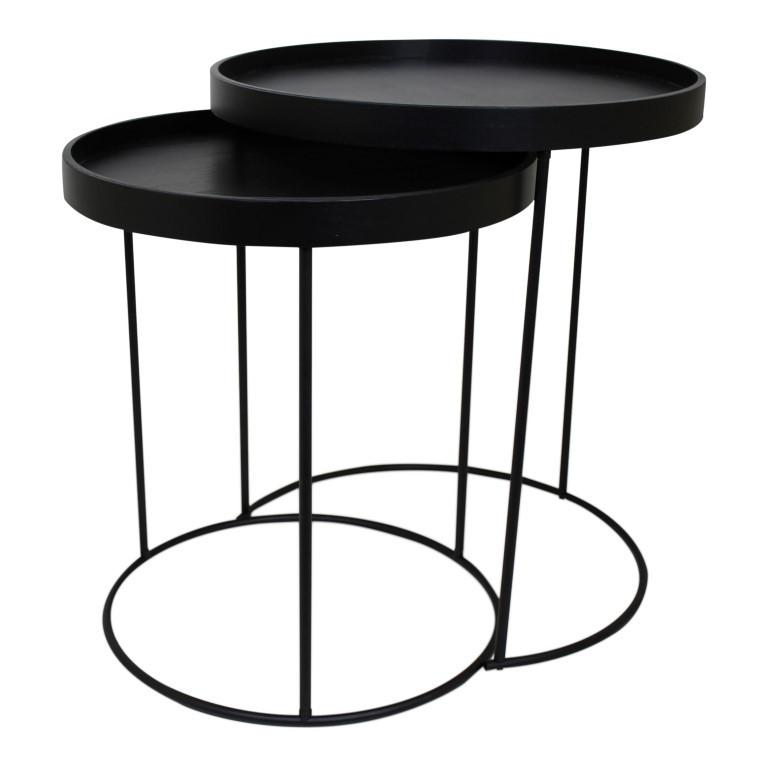 Set of 2 Side Tables Metal | Black
