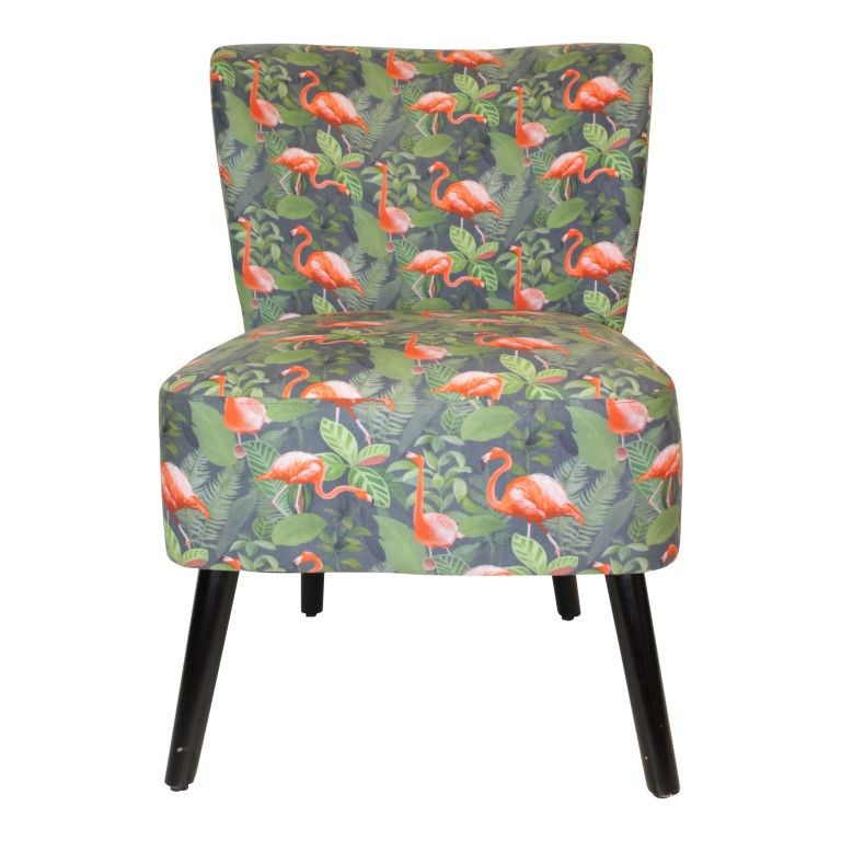 Chair Flamingo Polyester   Wooden Legs