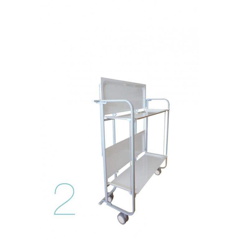Faltbarer 2-stöckiger Servierwagen | Weiß