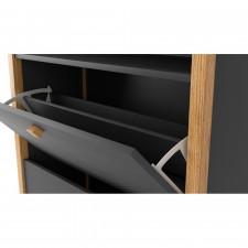 Bode Schuhschrank 3 Türen | Grau & Birke