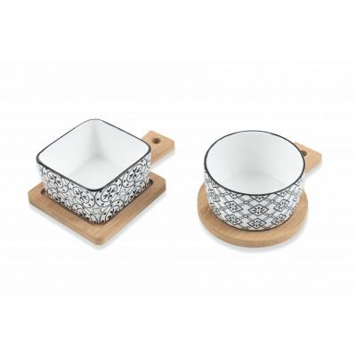 Sashimi-Schale mit Bambus-Tablett 2er-Set   Weiß