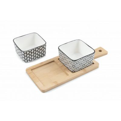 Sashimi-Tablett mit 2 Schalen   Weiß