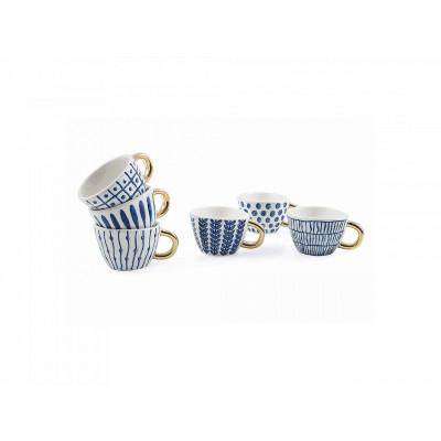 Coffee Cups Masai Set of 6   Blue
