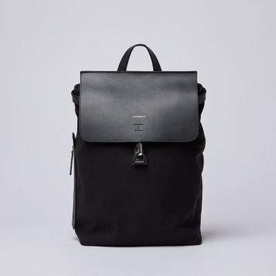 Rucksack ALVA | Schwarz mit schwarzem Leder